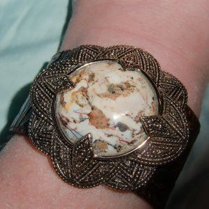 VTG Barse African Opal Tooled Leather Cuff